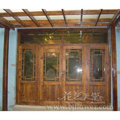 北京花卉-花艺天堂-园林木艺实景展示之四:木门